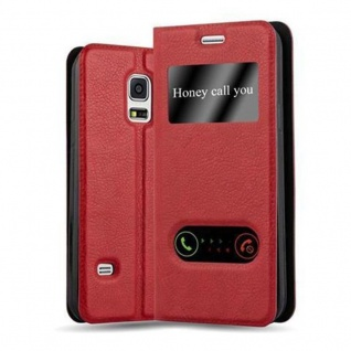 Cadorabo Hülle für Samsung Galaxy S5 MINI / S5 MINI DUOS in SAFRAN ROT - Handyhülle mit Magnetverschluss, Standfunktion und 2 Sichtfenstern - Case Cover Schutzhülle Etui Tasche Book Klapp Style
