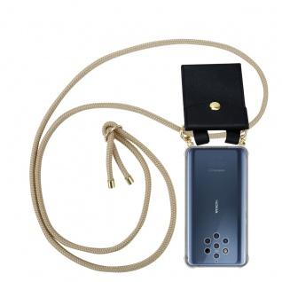 Cadorabo Handy Kette für Nokia 10 in GLÄNZEND BRAUN Silikon Necklace Umhänge Hülle mit Gold Ringen, Kordel Band Schnur und abnehmbarem Etui Schutzhülle