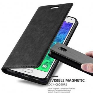 Cadorabo Hülle für Samsung Galaxy ALPHA in NACHT SCHWARZ Handyhülle mit Magnetverschluss, Standfunktion und Kartenfach Case Cover Schutzhülle Etui Tasche Book Klapp Style