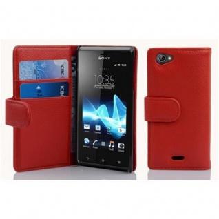 Cadorabo Hülle für Sony Xperia J in INFERNO ROT - Handyhülle aus strukturiertem Kunstleder mit Standfunktion und Kartenfach - Case Cover Schutzhülle Etui Tasche Book Klapp Style