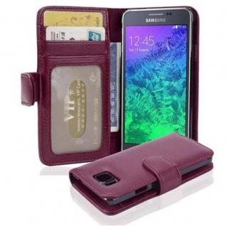 Cadorabo Hülle für Samsung Galaxy ALPHA in BORDEAUX LILA Handyhülle mit Magnetverschluss und 3 Kartenfächern Case Cover Schutzhülle Etui Tasche Book Klapp Style