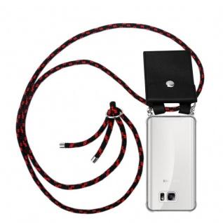 Cadorabo Handy Kette für Samsung Galaxy NOTE 5 in SCHWARZ ROT - Silikon Necklace Umhänge Hülle mit Silber Ringen, Kordel Band Schnur und abnehmbarem Etui - Schutzhülle