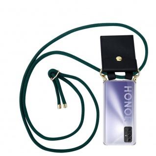 Cadorabo Handy Kette für Honor 30 in ARMEE GRÜN Silikon Necklace Umhänge Hülle mit Gold Ringen, Kordel Band Schnur und abnehmbarem Etui Schutzhülle