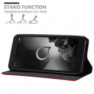 Cadorabo Hülle für Alcatel 1C 2019 in APFEL ROT Handyhülle mit Magnetverschluss, Standfunktion und Kartenfach Case Cover Schutzhülle Etui Tasche Book Klapp Style - Vorschau 3