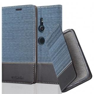 Cadorabo Hülle für Sony Xperia XZ2 in DUNKEL BLAU SCHWARZ - Handyhülle mit Magnetverschluss, Standfunktion und Kartenfach - Case Cover Schutzhülle Etui Tasche Book Klapp Style