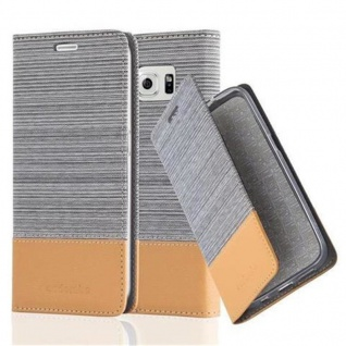 Cadorabo Hülle für Samsung Galaxy S6 in HELL GRAU BRAUN - Handyhülle mit Magnetverschluss, Standfunktion und Kartenfach - Case Cover Schutzhülle Etui Tasche Book Klapp Style