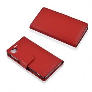 Cadorabo Hülle für Sony Xperia Z1 COMPACT in INFERNO ROT - Handyhülle aus strukturiertem Kunstleder mit Standfunktion und Kartenfach - Case Cover Schutzhülle Etui Tasche Book Klapp Style - Vorschau 3