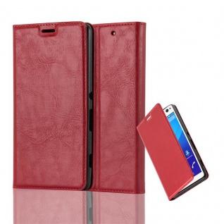 Cadorabo Hülle für Sony Xperia C4 in APFEL ROT - Handyhülle mit Magnetverschluss, Standfunktion und Kartenfach - Case Cover Schutzhülle Etui Tasche Book Klapp Style
