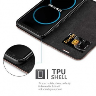Cadorabo Hülle für Samsung Galaxy S8 in CAPPUCCINO BRAUN - Handyhülle mit Magnetverschluss, Standfunktion und Kartenfach - Case Cover Schutzhülle Etui Tasche Book Klapp Style - Vorschau 3