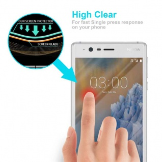 Cadorabo Panzer Folie für Nokia 3 2017 - Schutzfolie in KRISTALL KLAR - Gehärtetes (Tempered) Display-Schutzglas in 9H Härte mit 3D Touch Kompatibilität - Vorschau 5