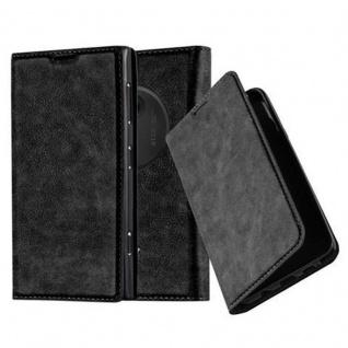 Cadorabo Hülle für Nokia Lumia 1020 in NACHT SCHWARZ - Handyhülle mit Magnetverschluss, Standfunktion und Kartenfach - Case Cover Schutzhülle Etui Tasche Book Klapp Style