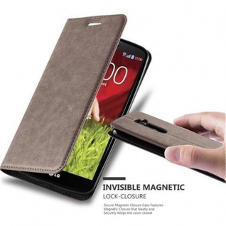 Cadorabo Hülle für LG G2 in KAFFEE BRAUN - Handyhülle mit Magnetverschluss, Standfunktion und Kartenfach - Case Cover Schutzhülle Etui Tasche Book Klapp Style