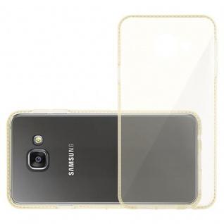 Cadorabo Hülle für Samsung Galaxy A3 2016 (6) - Hülle in TRANSPARENT GOLD - Handyhülle aus TPU Silikon im Strass Design - Silikonhülle Schutzhülle Ultra Slim Soft Back Cover Case Bumper - Vorschau 4
