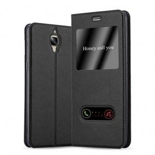 Cadorabo Hülle für OnePlus 3 / 3T in KOMETEN SCHWARZ - Handyhülle mit Magnetverschluss, Standfunktion und 2 Sichtfenstern - Case Cover Schutzhülle Etui Tasche Book Klapp Style
