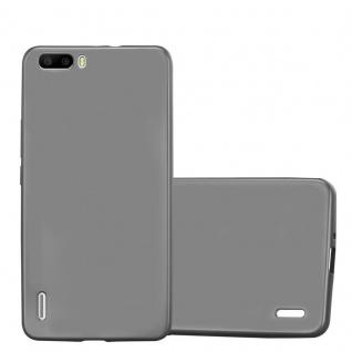 Cadorabo Hülle für Honor 6 PLUS in METALLIC GRAU Handyhülle aus flexiblem TPU Silikon Silikonhülle Schutzhülle Ultra Slim Soft Back Cover Case Bumper