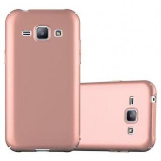 Cadorabo Hülle für Samsung Galaxy J1 2015 in METALL ROSE GOLD - Hardcase Handyhülle aus Plastik gegen Kratzer und Stöße - Schutzhülle Bumper Ultra Slim Back Case Hard Cover