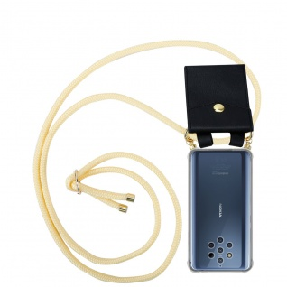 Cadorabo Handy Kette für Nokia 10 in CREME BEIGE Silikon Necklace Umhänge Hülle mit Gold Ringen, Kordel Band Schnur und abnehmbarem Etui Schutzhülle