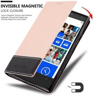 Cadorabo Hülle für Nokia Lumia 1020 in ROSÉ GOLD SCHWARZ ? Handyhülle mit Magnetverschluss, Standfunktion und Kartenfach ? Case Cover Schutzhülle Etui Tasche Book Klapp Style - Vorschau 3