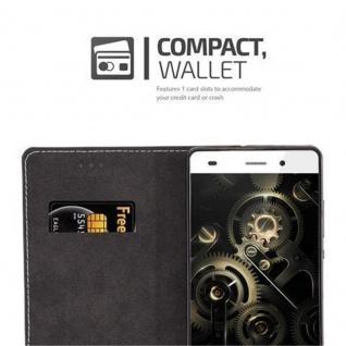 Cadorabo Hülle für Huawei P8 LITE 2015 in SCHWARZ BRAUN - Handyhülle mit Magnetverschluss, Standfunktion und Kartenfach - Case Cover Schutzhülle Etui Tasche Book Klapp Style - Vorschau 3