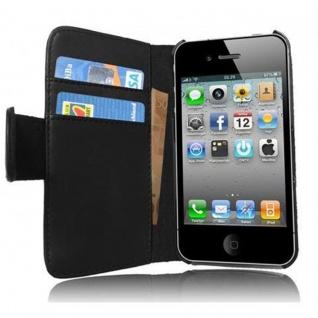 Cadorabo Hülle für Apple iPhone 4 / iPhone 4S in KAVIAR SCHWARZ ? Handyhülle aus glattem Kunstleder mit Standfunktion und Kartenfach ? Case Cover Schutzhülle Etui Tasche Book Klapp Style