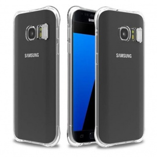 Cadorabo Hülle für Samsung Galaxy S7 - Hülle in STAR TRANSPARENT ? Handyhülle aus TPU Silikon im LED-Blitzlicht-Design - Silikonhülle Schutzhülle Ultra Slim Soft Back Cover Case Bumper
