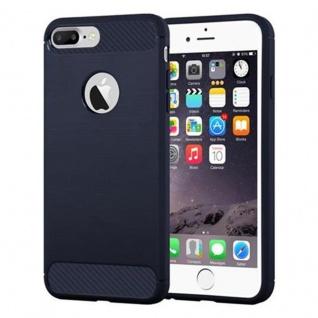Cadorabo Hülle für Apple iPhone 8 PLUS / iPhone 7 PLUS / iPhone 7S PLUS - Hülle in BRUSHED BLAU ? Handyhülle aus TPU Silikon in Edelstahl-Karbonfaser Optik - Ultra Slim Soft Backcover Case Bumper