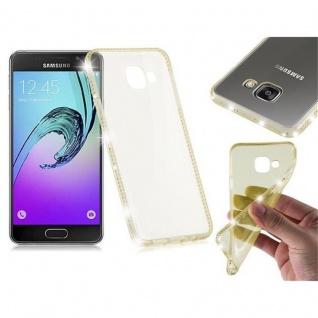 Cadorabo Hülle für Samsung Galaxy A3 2016 - Hülle in TRANSPARENT GOLD ? Handyhülle aus TPU Silikon im Strass Design - Silikonhülle Schutzhülle Ultra Slim Soft Back Cover Case Bumper