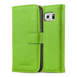 Cadorabo Hülle für Samsung Galaxy S6 in GRAS GRÜN Handyhülle mit Magnetverschluss, Standfunktion und Kartenfach Case Cover Schutzhülle Etui Tasche Book Klapp Style