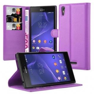 Cadorabo Hülle für Sony Xperia T3 in MANGAN VIOLETT ? Handyhülle mit Magnetverschluss und 3 Kartenfächern ? Case Cover Schutzhülle Etui Tasche Book Klapp Style
