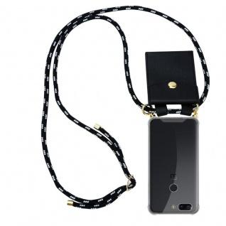 Cadorabo Handy Kette für OnePlus 5T in SCHWARZ SILBER Silikon Necklace Umhänge Hülle mit Gold Ringen, Kordel Band Schnur und abnehmbarem Etui Schutzhülle
