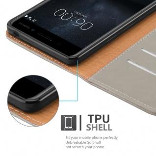 Cadorabo Hülle für Nokia 6 2017 in CAPPUCCINO BRAUN ? Handyhülle mit Magnetverschluss, Standfunktion und Kartenfach ? Case Cover Schutzhülle Etui Tasche Book Klapp Style - Vorschau 4