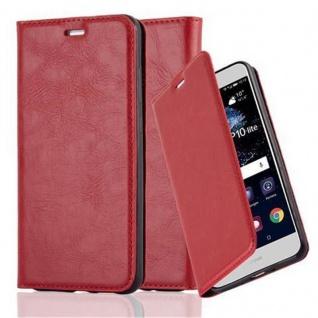 Cadorabo Hülle für Huawei P10 LITE in APFEL ROT Handyhülle mit Magnetverschluss, Standfunktion und Kartenfach Case Cover Schutzhülle Etui Tasche Book Klapp Style
