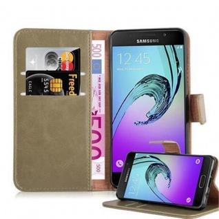 Cadorabo Hülle für Samsung Galaxy A3 2016 in CAPPUCINO BRAUN - Handyhülle mit Magnetverschluss, Standfunktion und Kartenfach - Case Cover Schutzhülle Etui Tasche Book Klapp Style