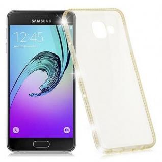 Cadorabo Hülle für Samsung Galaxy A3 2016 (6) - Hülle in TRANSPARENT GOLD - Handyhülle aus TPU Silikon im Strass Design - Silikonhülle Schutzhülle Ultra Slim Soft Back Cover Case Bumper - Vorschau 5
