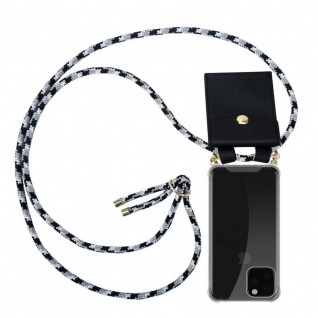 Cadorabo Handy Kette für Apple iPhone 11 PRO MAX (XI PRO MAX) in SCHWARZ CAMOUFLAGE - Silikon Necklace Umhänge Hülle mit Gold Ringen, Kordel Band Schnur und abnehmbarem Etui - Schutzhülle