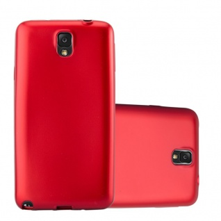 Cadorabo Hülle für Samsung Galaxy NOTE 3 in METALLIC ROT - Handyhülle aus flexiblem TPU Silikon - Silikonhülle Schutzhülle Ultra Slim Soft Back Cover Case Bumper