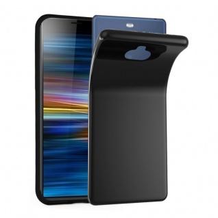 Cadorabo Hülle für Sony Xperia 10 PLUS in SCHWARZ - Handyhülle aus flexiblem TPU Silikon - Silikonhülle Schutzhülle Ultra Slim Soft Back Cover Case Bumper
