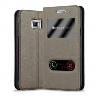 Cadorabo Hülle für Samsung Galaxy S2 / S2 PLUS in STEIN BRAUN - Handyhülle mit Magnetverschluss, Standfunktion und 2 Sichtfenstern - Case Cover Schutzhülle Etui Tasche Book Klapp Style