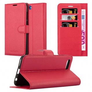Cadorabo Hülle für Honor 10 VIEW in KARMIN ROT Handyhülle mit Magnetverschluss, Standfunktion und Kartenfach Case Cover Schutzhülle Etui Tasche Book Klapp Style