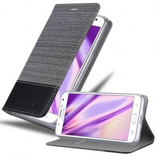 Cadorabo Hülle für Samsung Galaxy J7 2015 in GRAU SCHWARZ - Handyhülle mit Magnetverschluss, Standfunktion und Kartenfach - Case Cover Schutzhülle Etui Tasche Book Klapp Style