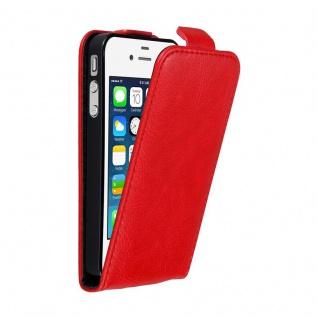 Cadorabo Hülle für Apple iPhone 4 / iPhone 4S in APFEL ROT - Handyhülle im Flip Design mit unsichtbarem Magnetverschluss - Case Cover Schutzhülle Etui Tasche Book Klapp Style