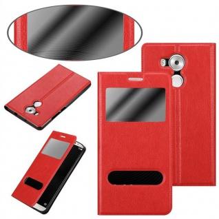 Cadorabo Hülle für Huawei MATE 8 in SAFRAN ROT ? Handyhülle mit Magnetverschluss, Standfunktion und 2 Sichtfenstern ? Case Cover Schutzhülle Etui Tasche Book Klapp Style - Vorschau 3