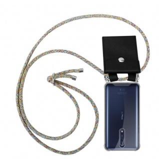 Cadorabo Handy Kette für Nokia 8 2017 in RAINBOW Silikon Necklace Umhänge Hülle mit Silber Ringen, Kordel Band Schnur und abnehmbarem Etui Schutzhülle