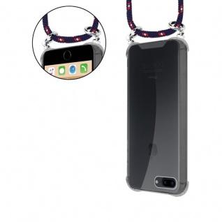 Cadorabo Handy Kette für Apple iPhone 8 PLUS / 7 PLUS / 7S PLUS in BLAU ROT WEISS GEPUNKTET - Silikon Necklace Umhänge Hülle mit Silber Ringen, Kordel Band Schnur und abnehmbarem Etui - Schutzhülle - Vorschau 5