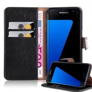 Cadorabo Hülle für Samsung Galaxy S7 EDGE in GRAPHIT SCHWARZ ? Handyhülle mit Magnetverschluss, Standfunktion und Kartenfach ? Case Cover Schutzhülle Etui Tasche Book Klapp Style