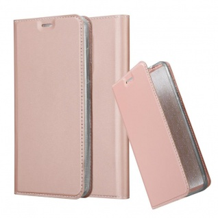 Cadorabo Hülle für WIKO VIEW XL in CLASSY ROSÉ GOLD - Handyhülle mit Magnetverschluss, Standfunktion und Kartenfach - Case Cover Schutzhülle Etui Tasche Book Klapp Style