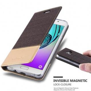 Cadorabo Hülle für Samsung Galaxy A5 2016 in ANTRAZIT GOLD - Handyhülle mit Magnetverschluss, Standfunktion und Kartenfach - Case Cover Schutzhülle Etui Tasche Book Klapp Style