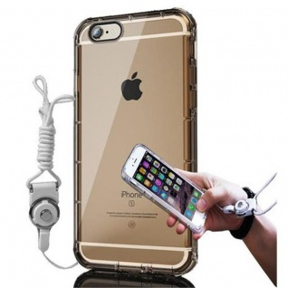 Cadorabo Hülle für Apple iPhone 6 / iPhone 6S - Hülle in TRANSPARENT GOLD - Handyhülle aus flexiblem TPU Silikon mit Schlaufe - Silikonhülle Schutzhülle Ultra Slim Soft Back Cover Case Bumper