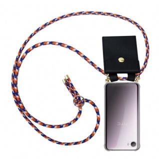Cadorabo Handy Kette für HTC Desire 12 in ORANGE BLAU WEISS - Silikon Necklace Umhänge Hülle mit Gold Ringen, Kordel Band Schnur und abnehmbarem Etui ? Schutzhülle