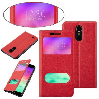 Cadorabo Hülle für LG K10 2017 in SAFRAN ROT - Handyhülle mit Magnetverschluss, Standfunktion und 2 Sichtfenstern - Case Cover Schutzhülle Etui Tasche Book Klapp Style - Vorschau 4